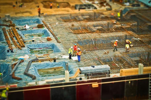 Construction workers using tilt-shift